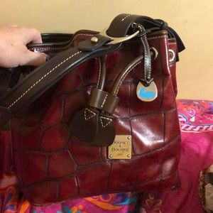 Red leather Dooney&Burke drawstring purse